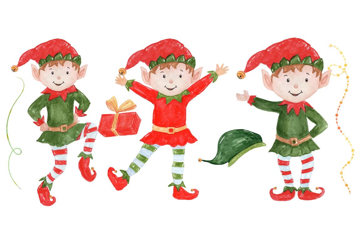 Bundle Watercolor Christmas Kids Clipart example image 17
