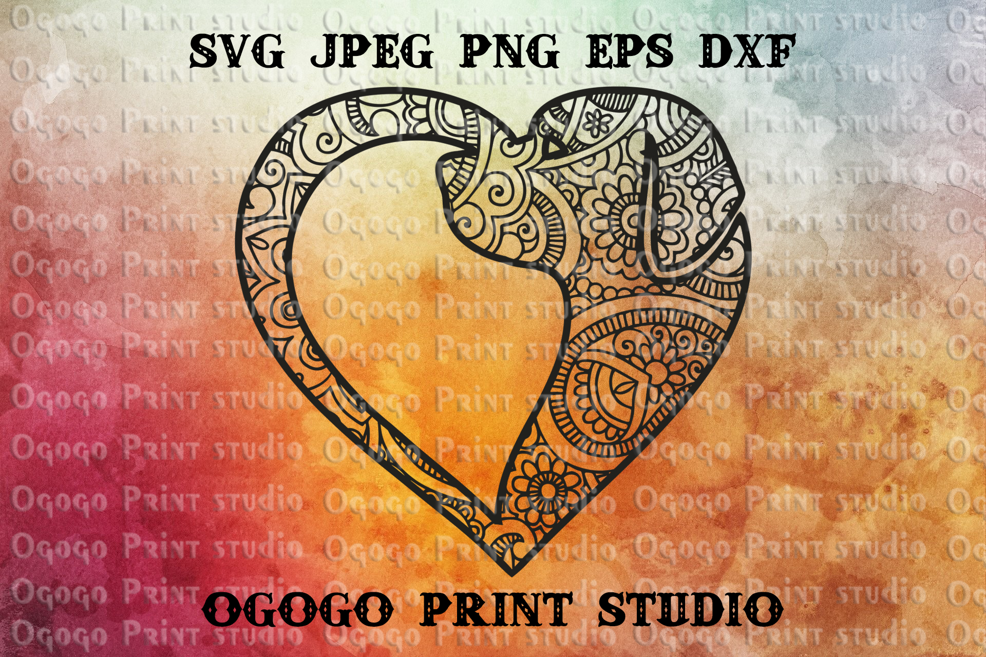 Mandala style Dog SVG, Zentangle SVG, Heart svg, Pet love example image 1
