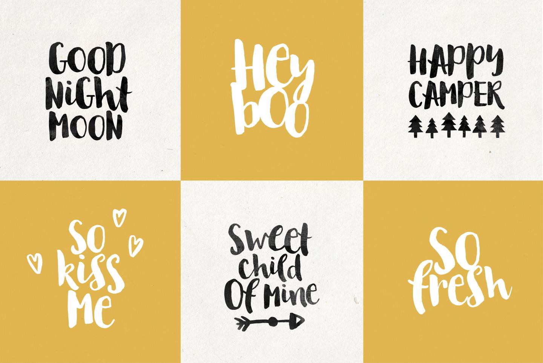 August Boy - Modern, bold, brush font + dingbat clipart example image 3