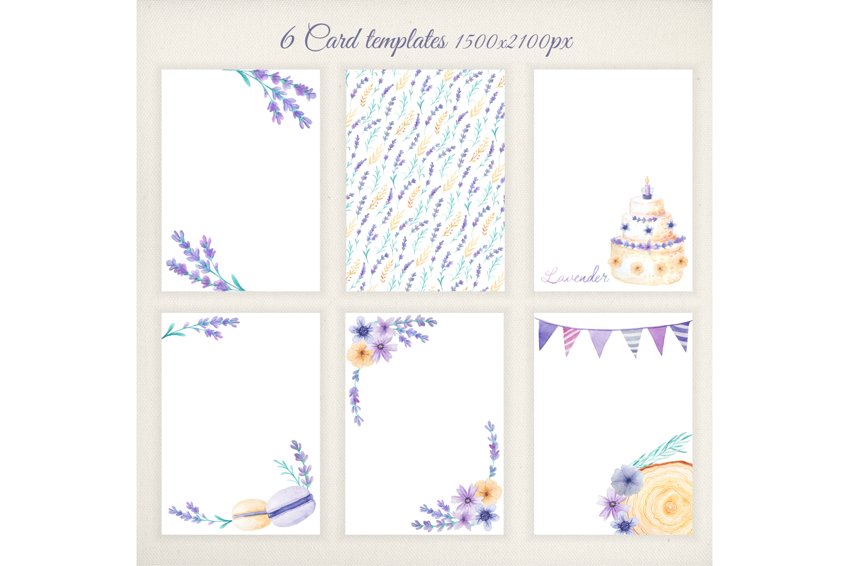 Watercolor Lavender Design Pack example image 7
