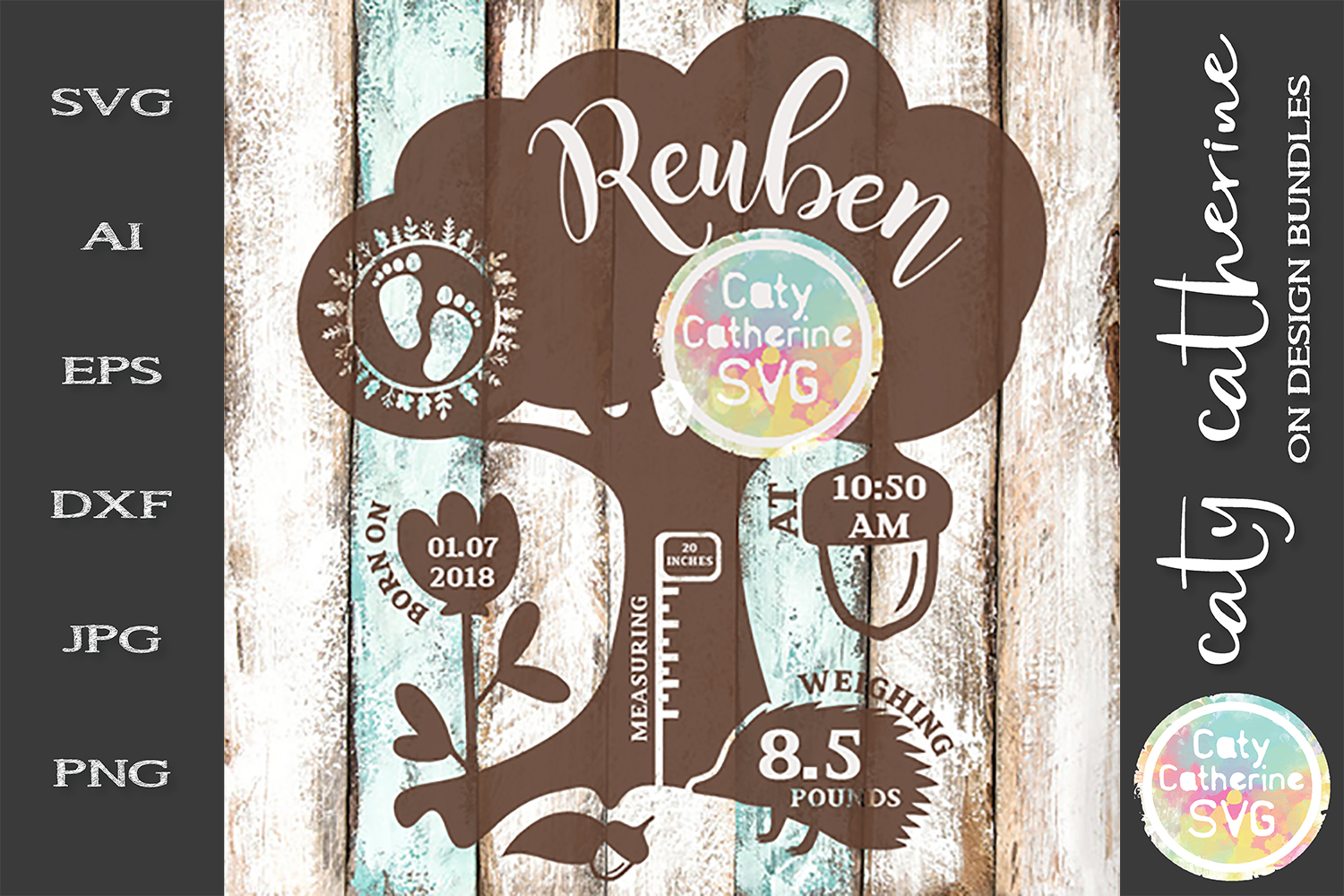 Woodland Baby Birth Stats Editable SVG Cut File example image 1