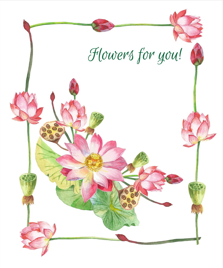 Lotus Flowers. Bouquets and Wreaths example image 5