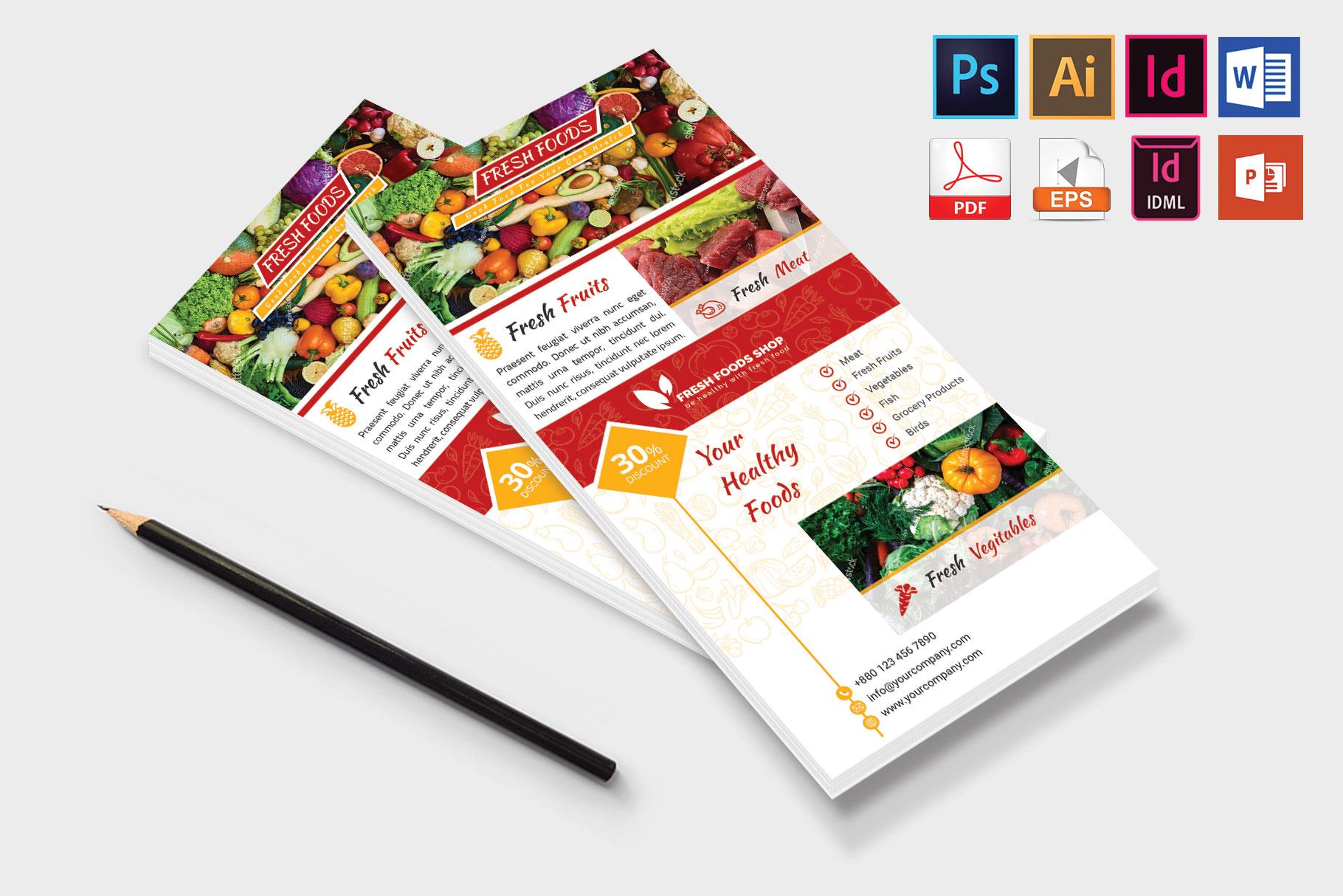 Rack Card | Fresh Food DL Flyer Vol-01 example image 4