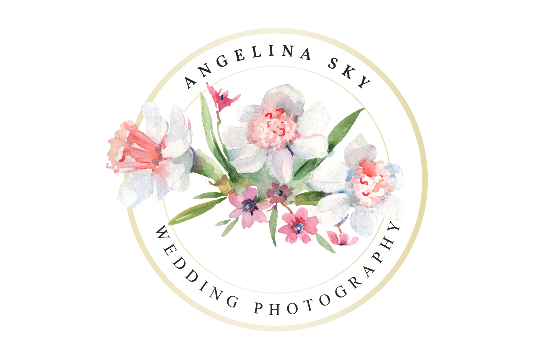 LOGO with roses and narcissus Watercolor png example image 2