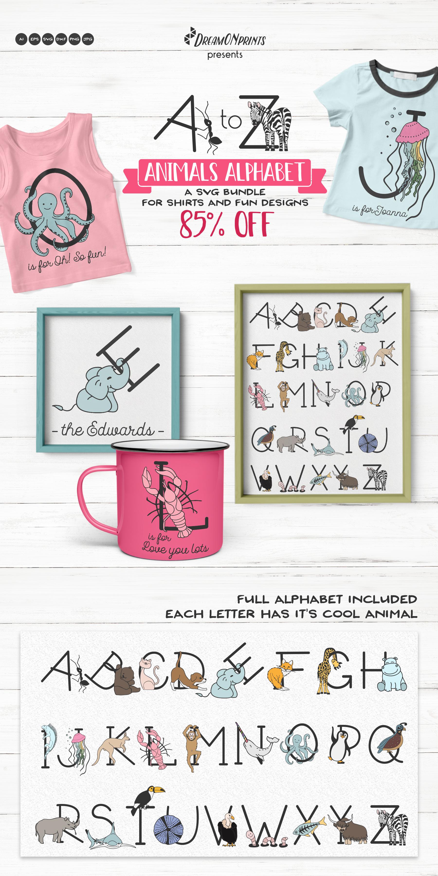 Animals Alphabet SVG | A Fun Monogram Bundle example image 21