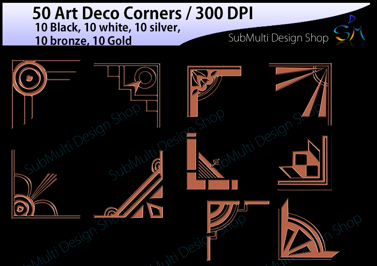 Art deco / art deco corners / art deco frames / art deco digital clipart / vector / High Quality / side corners / silhouette /digital files example image 2