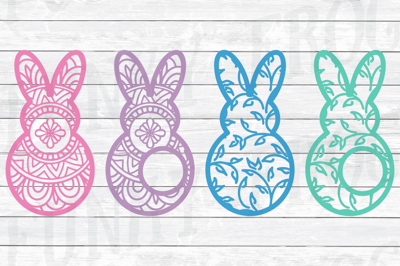 Easter Monogram Frame Bundle - Egg and Bunny SVG Cut Files example image 2