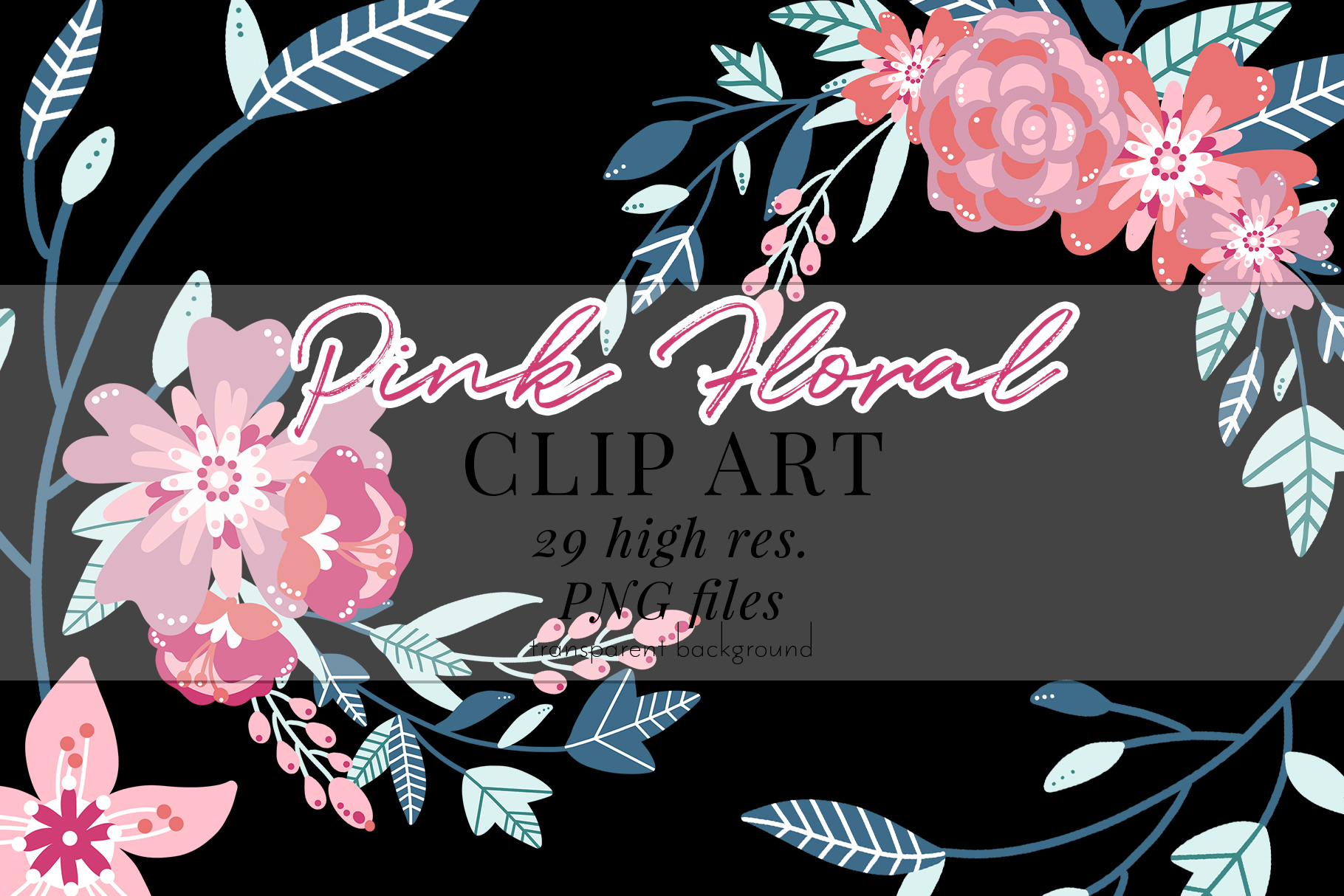 Pink Floral Clip Art, Pink Blush, Bouquets Scrapbooking, PNG example image 2