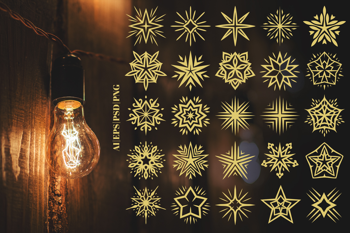 100 Star Vector Ornaments example image 4