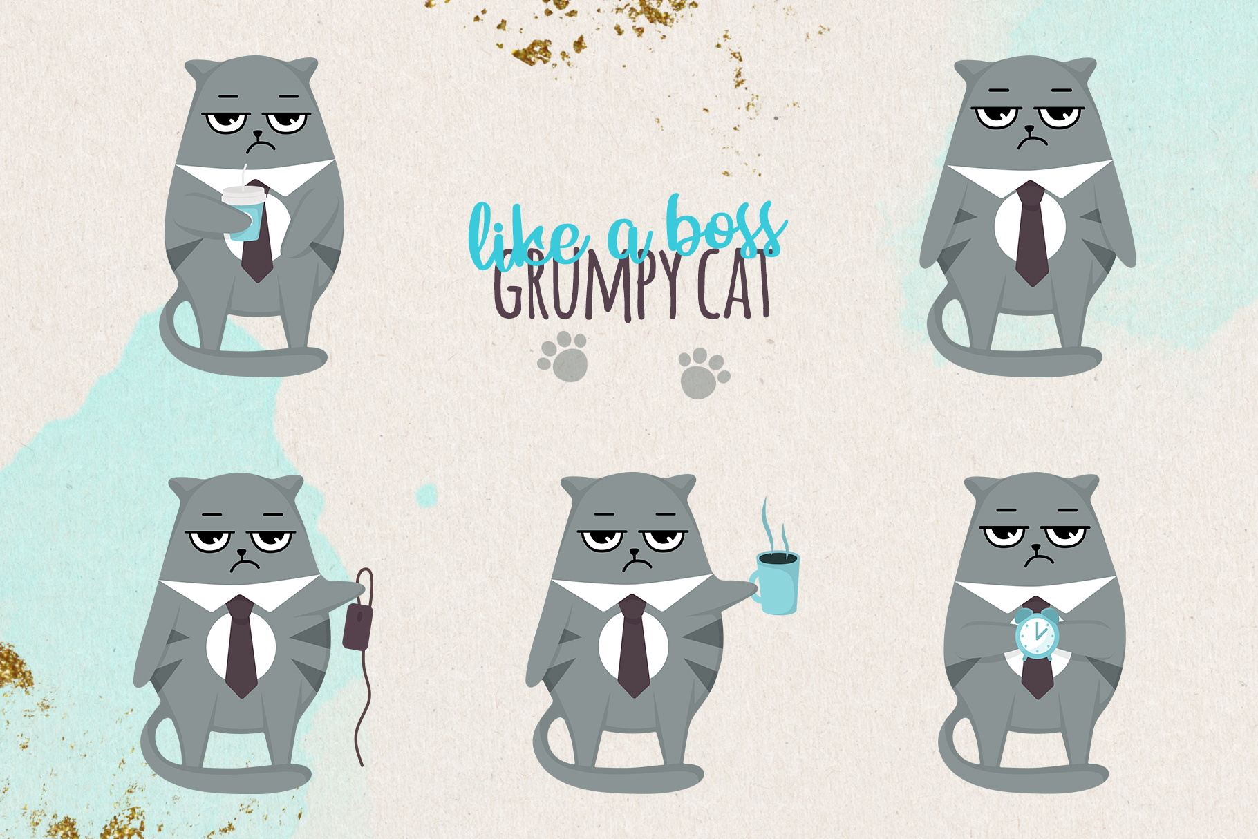 Grumpy cats vector collection example image 3