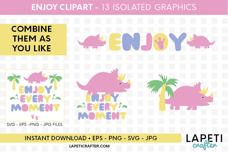Enjoy every moment printable quote, pink dinosaur printable example image 3