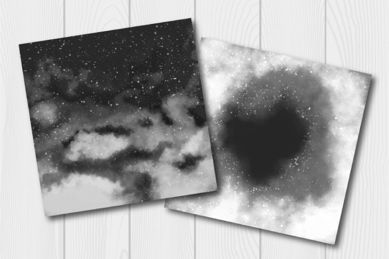 Monochrome watercolor galaxy digital paper. Cloudy textures example image 2