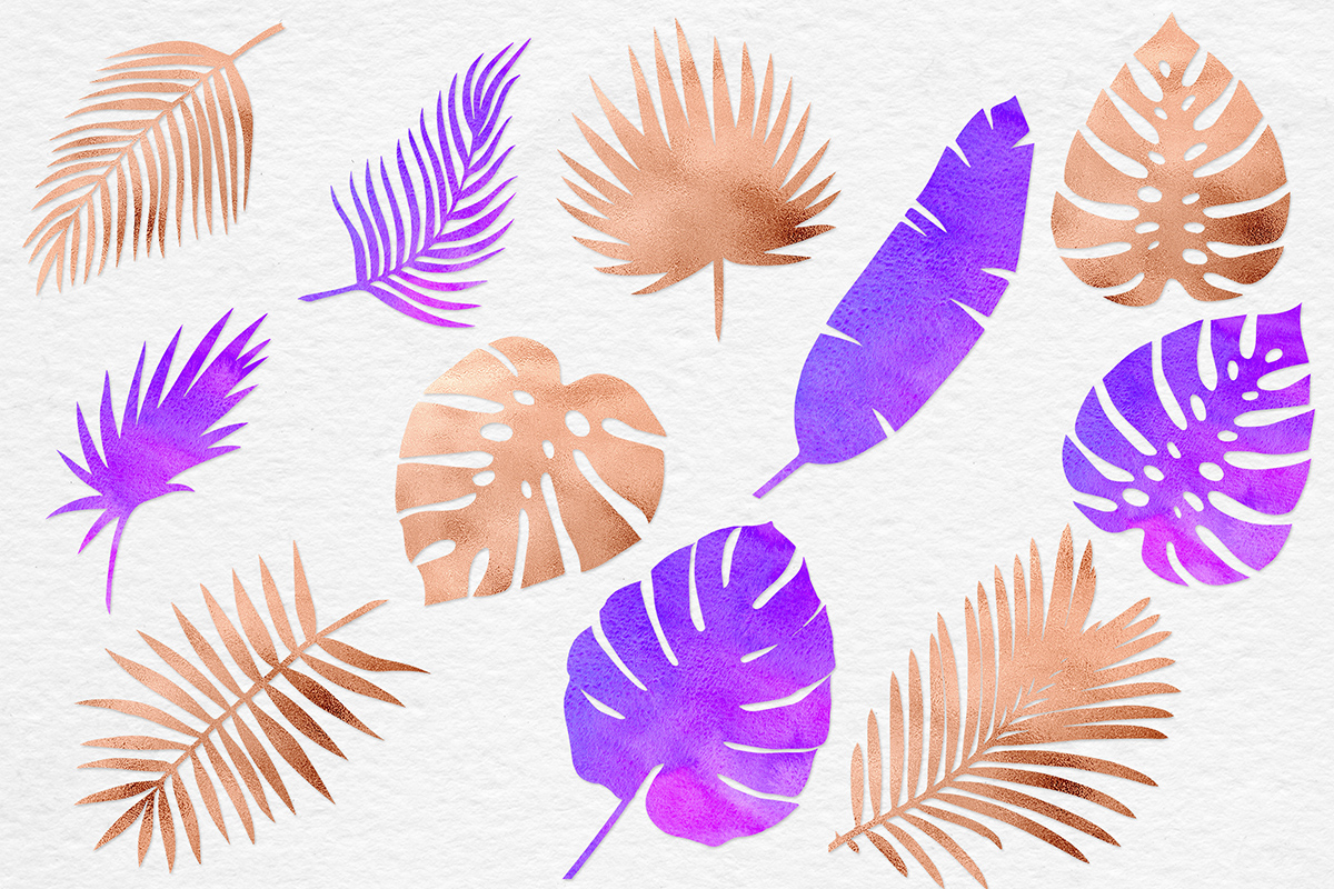 Watercolor & Copper Tropical Leaves example image 2
