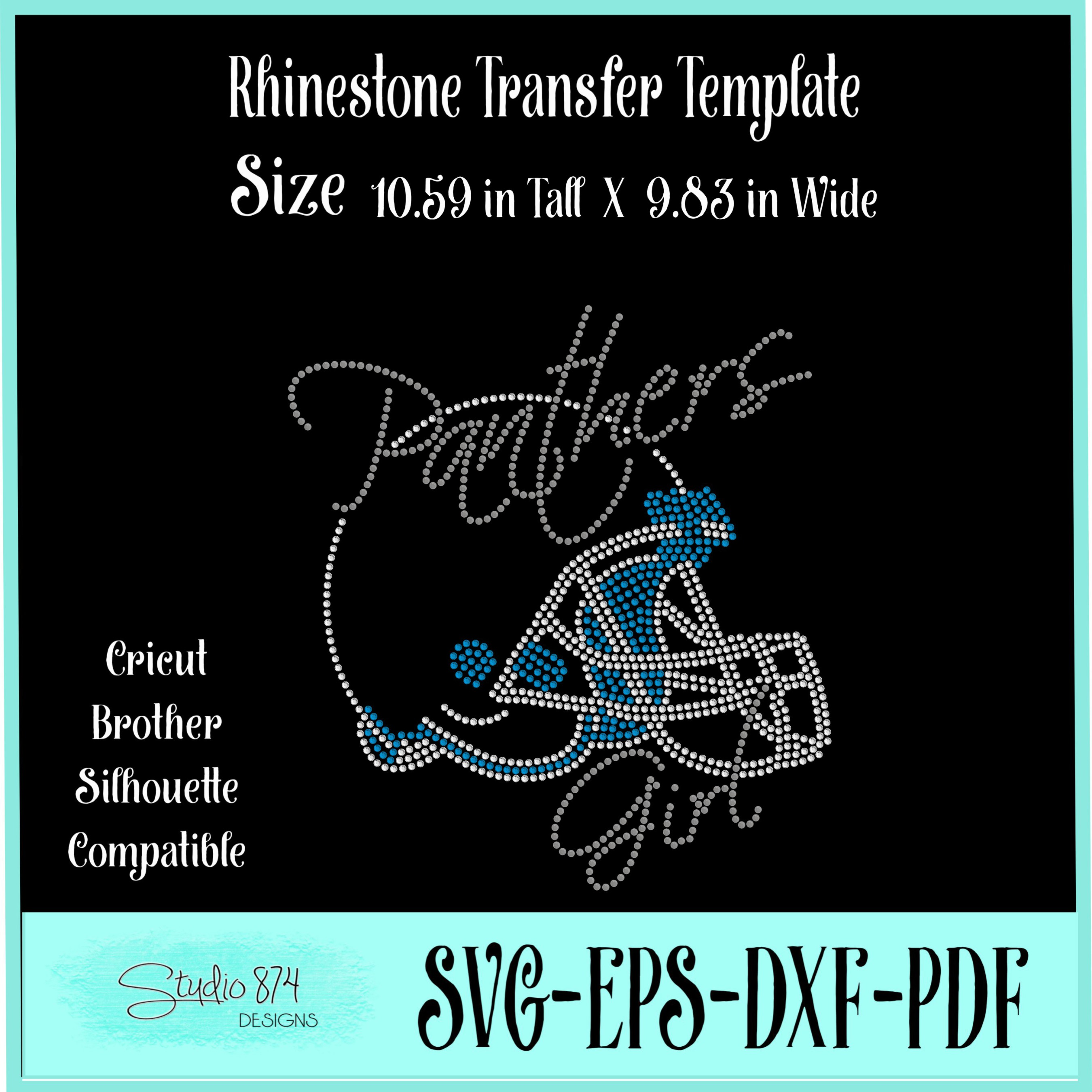 Panthers Football Rhinestone Template Download Girl R1 example image 2