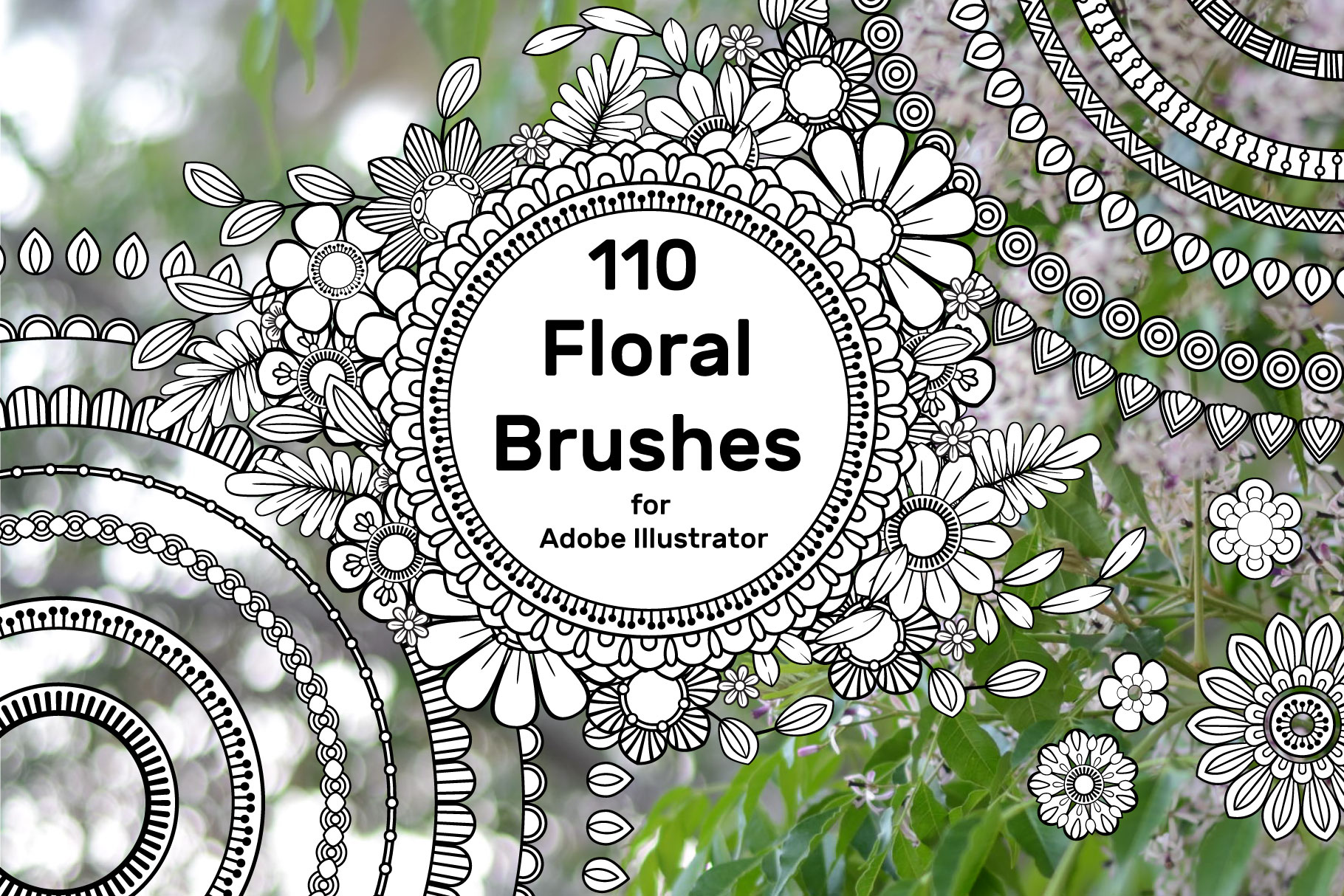 110 Floral Brushes for Adobe Illustrator example image 1