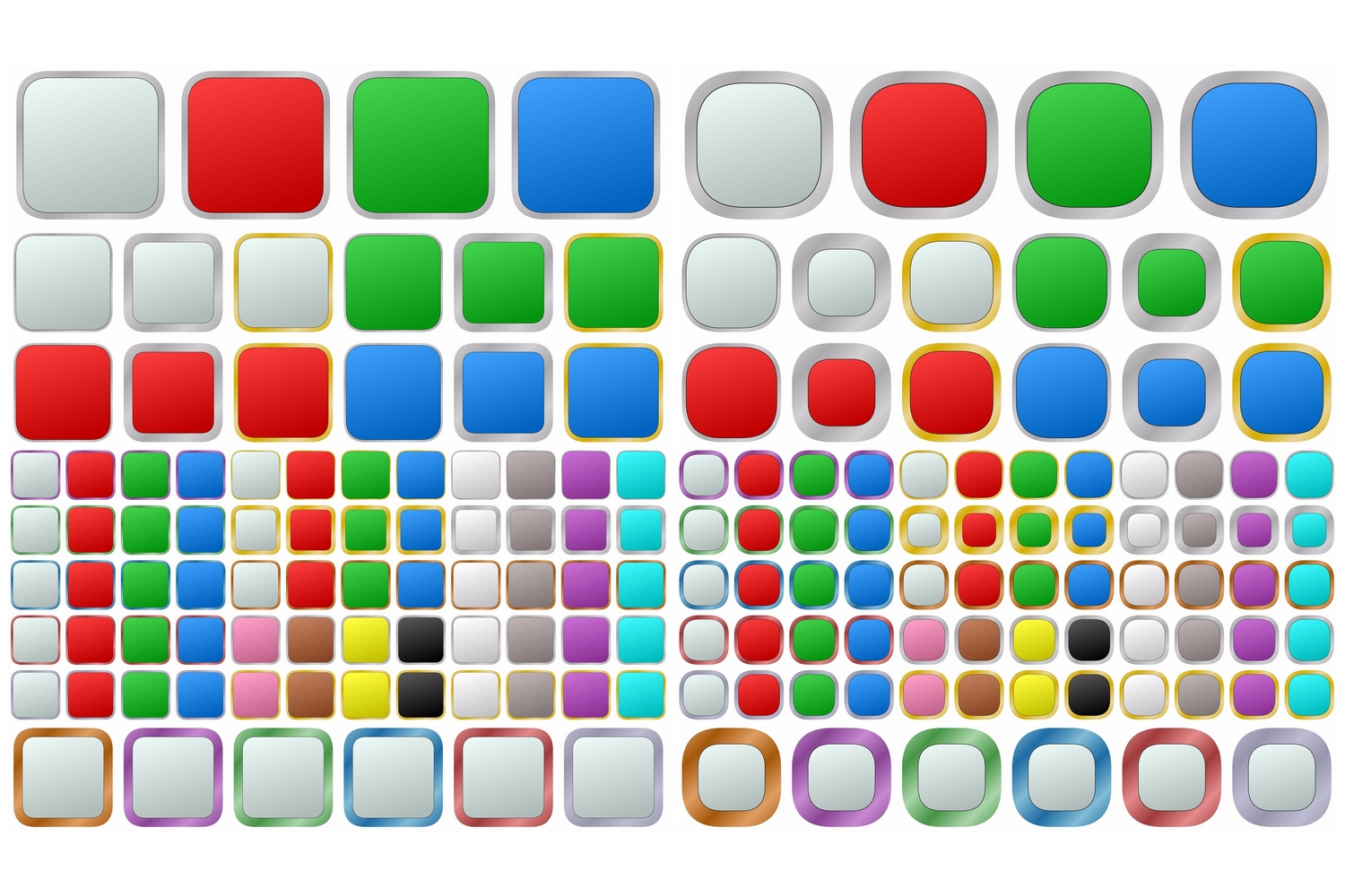 1148 colored geometric metallic buttons (EPS, AI, SVG, JPG 5000x5833) example image 2