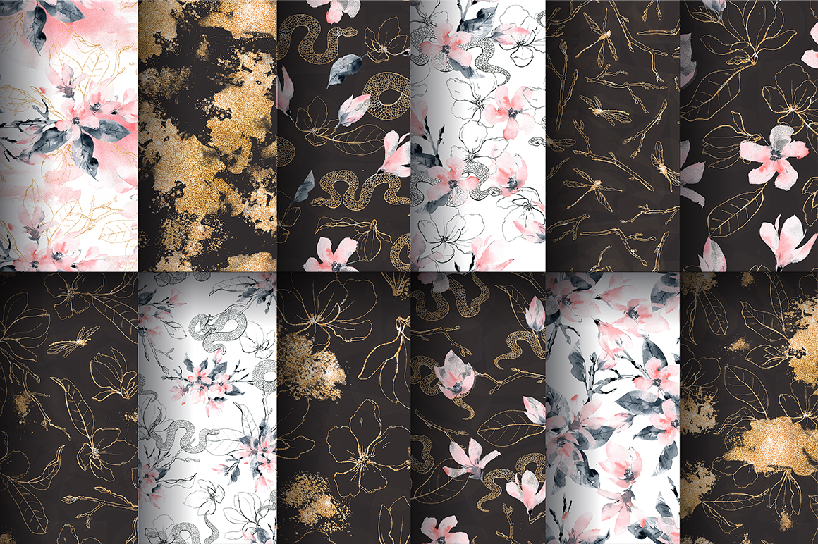 Snakes and Flowers. Pattern collection. example image 8