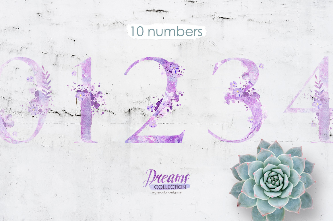 Watercolor numbers - DREAMS example image 1