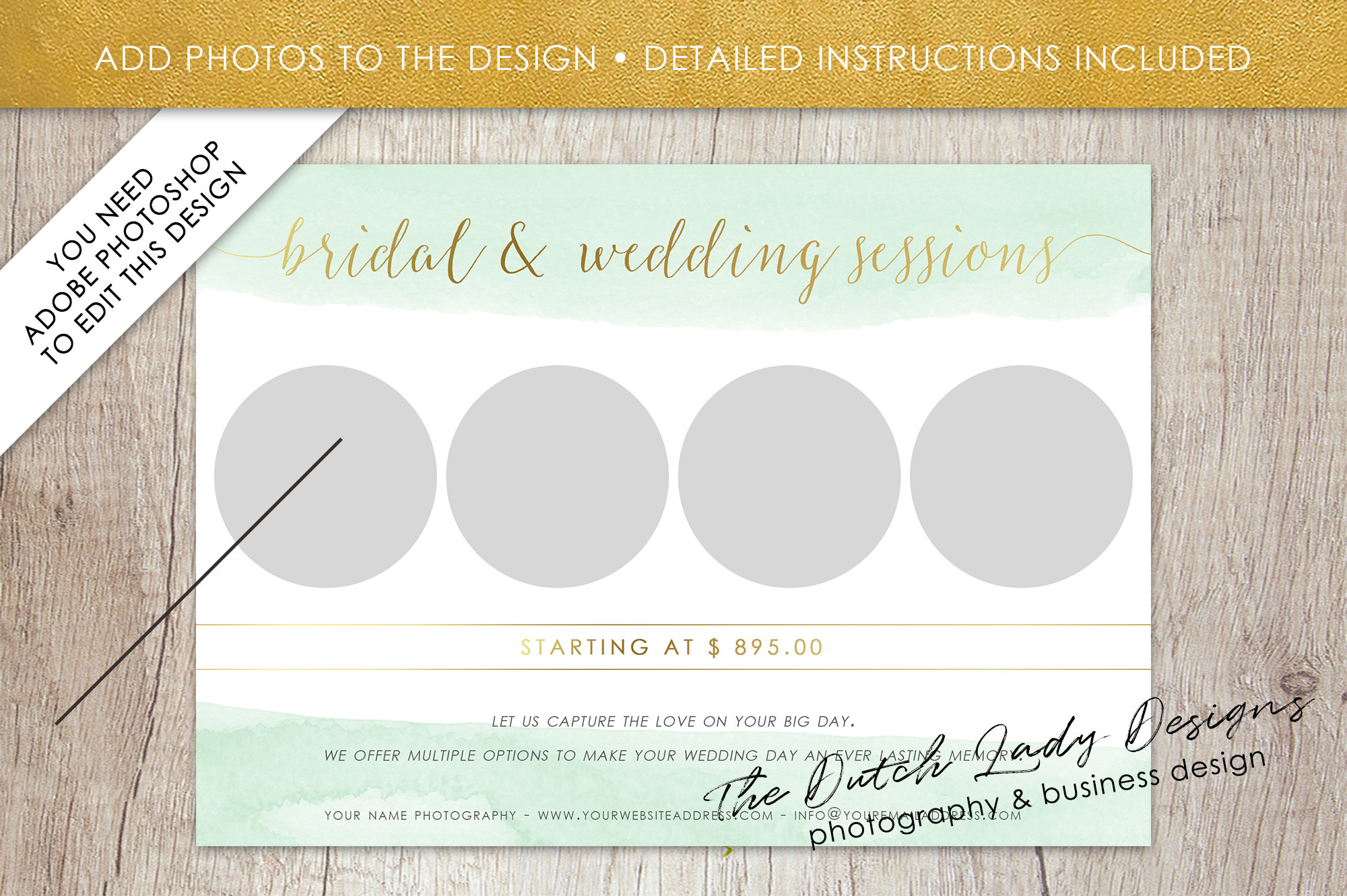 PSD Wedding Photo Session Card Template - Design #34 example image 2