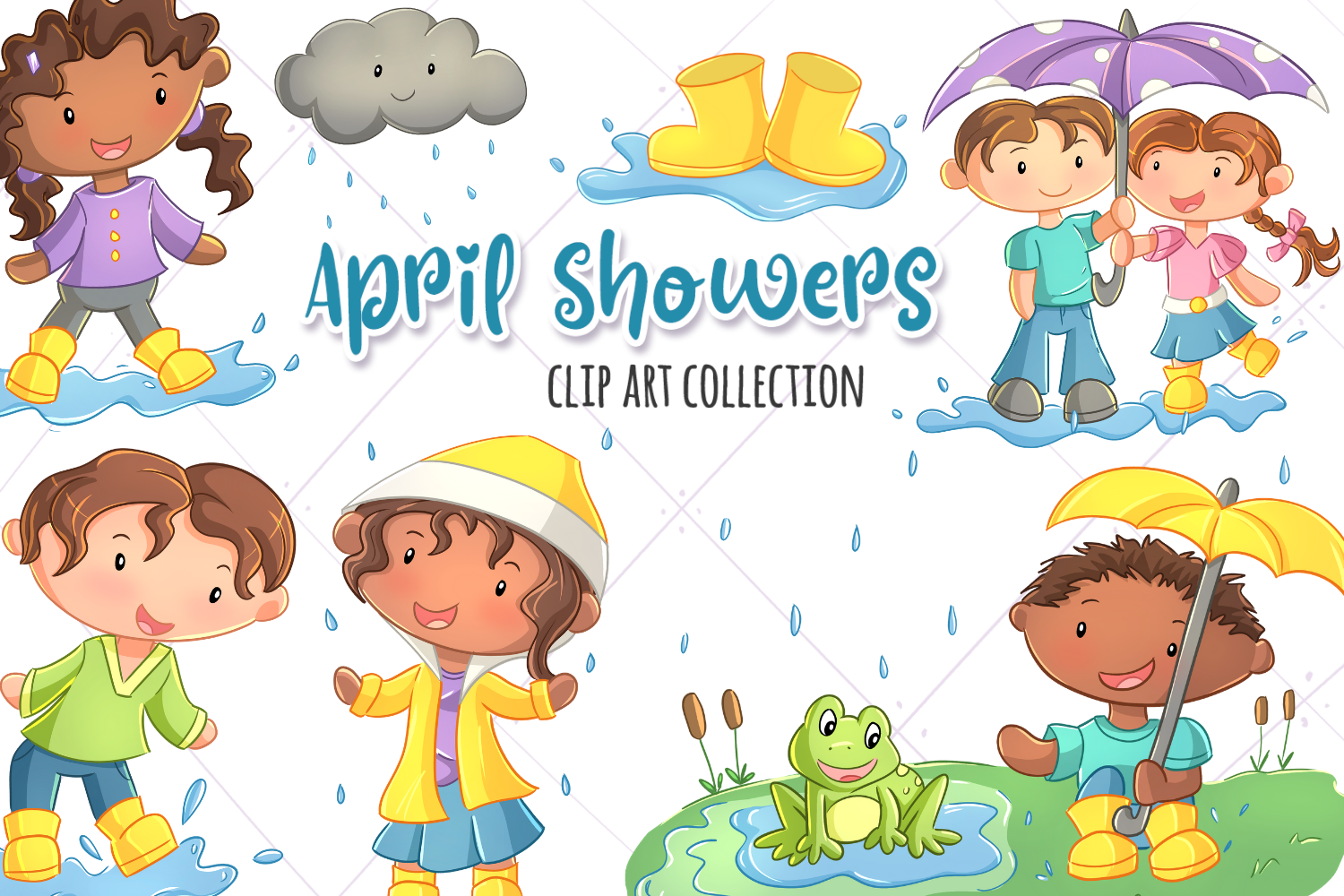 April Showers Clip Art Collection example image 1