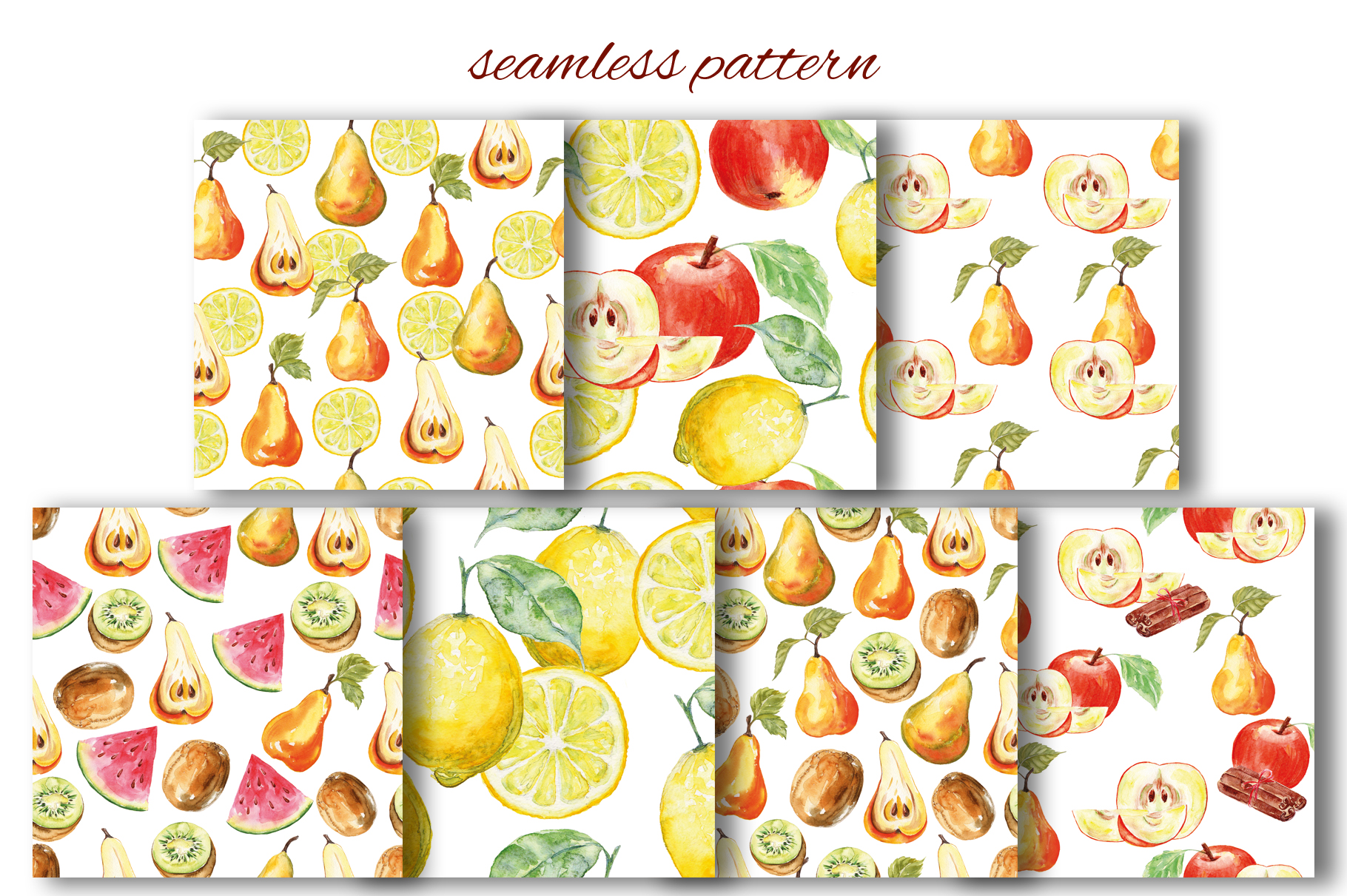 Fruits watercolor collection example image 12