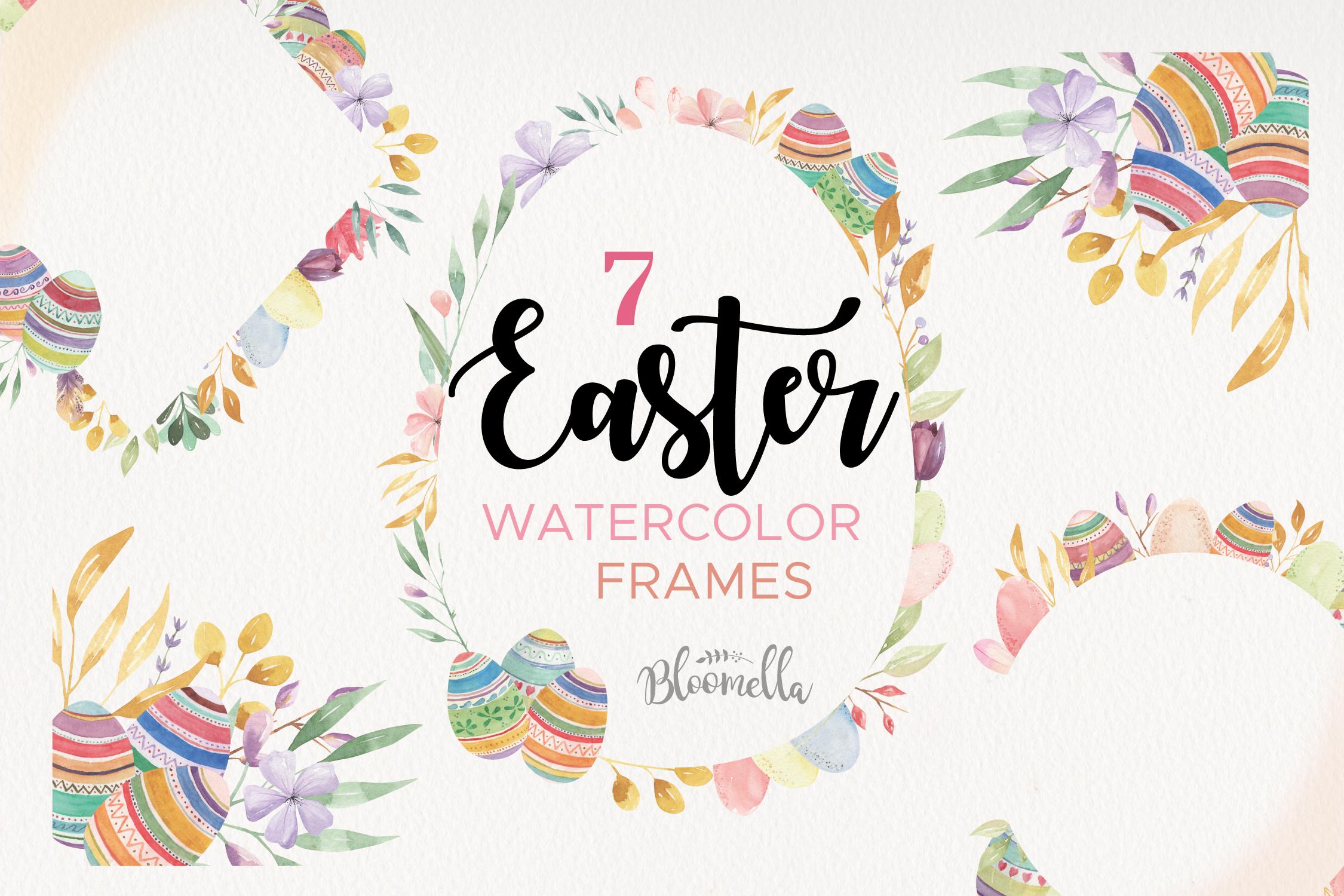Easter Eggs Frames Watercolor Spring Flowers Pastels ...