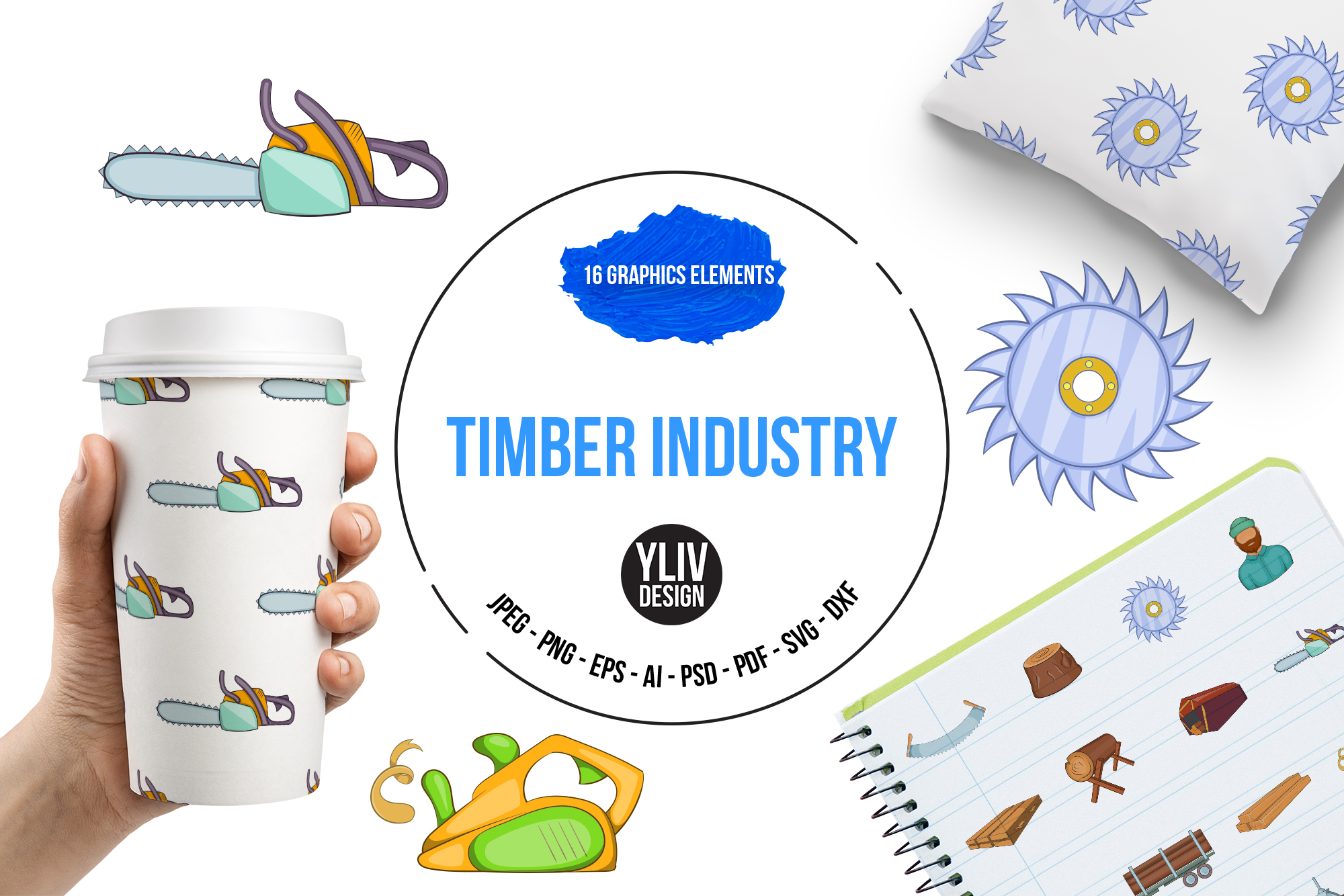 Timber industry icons set, cartoon style example image 1