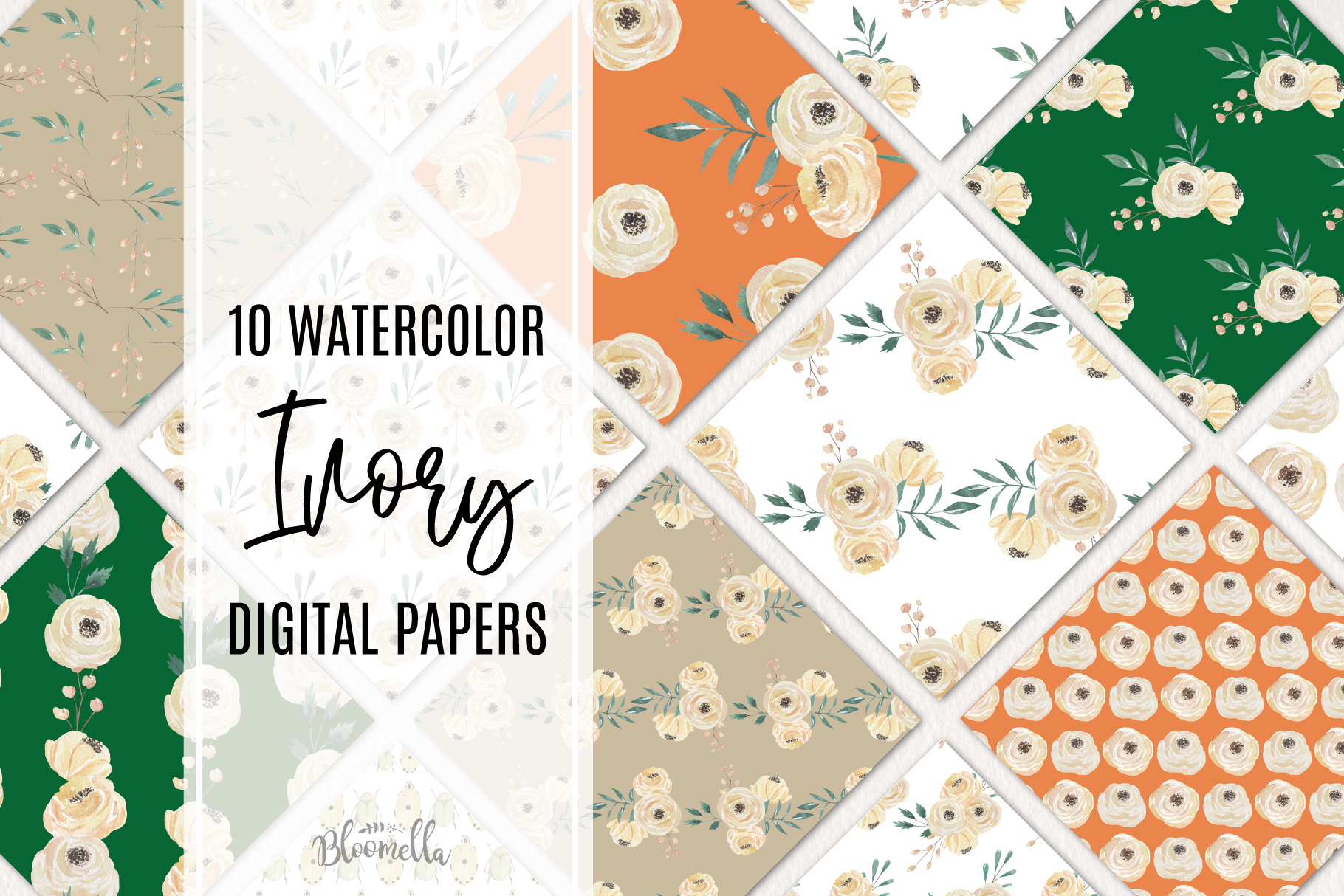 Ivory 10 Seamless Patterns Digital Paper Watercolor Wedding example image 1