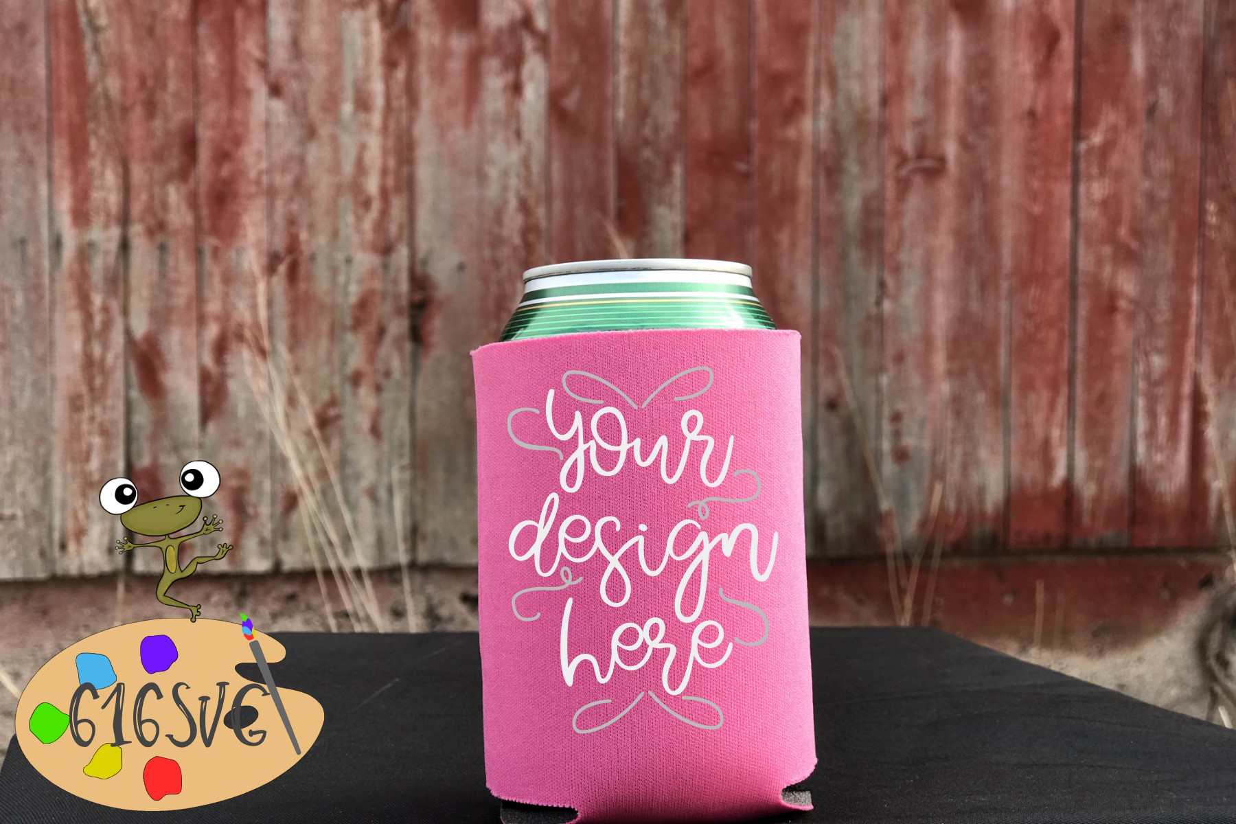 Neon Pink Can Cooler Mockup example image 2