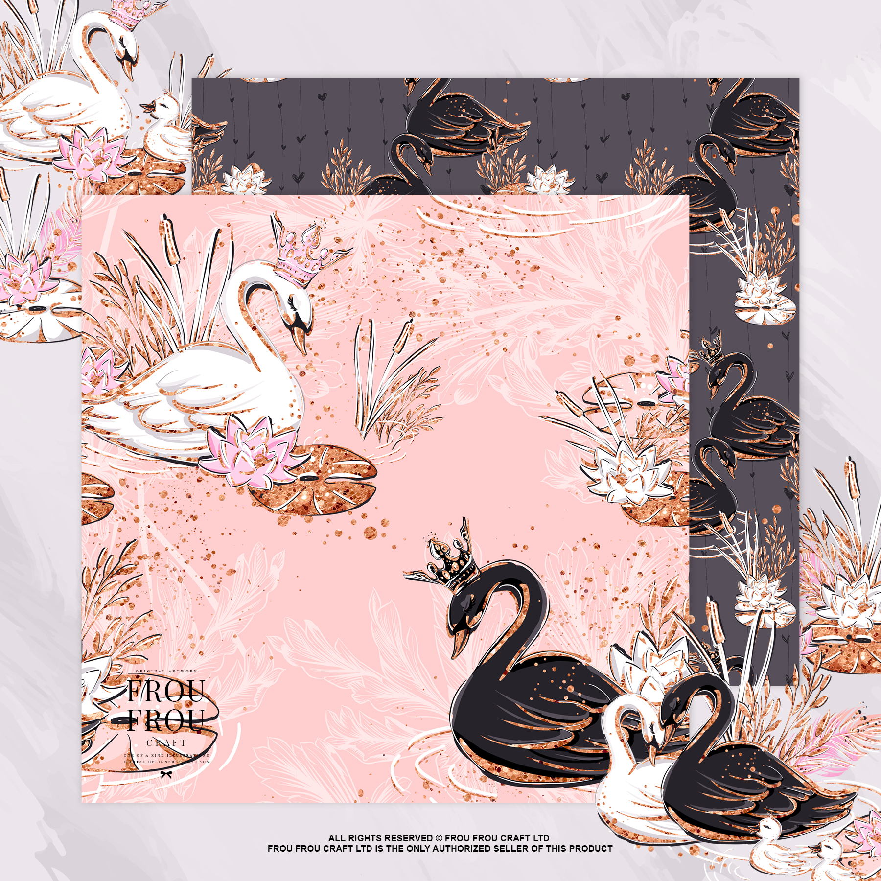 Swan Rose Gold Glitter Nursery Paper Pack example image 9
