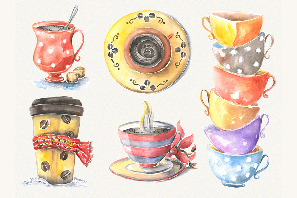 Cup clipart, cofee cup, watercolor cup, cup of tea example image 2