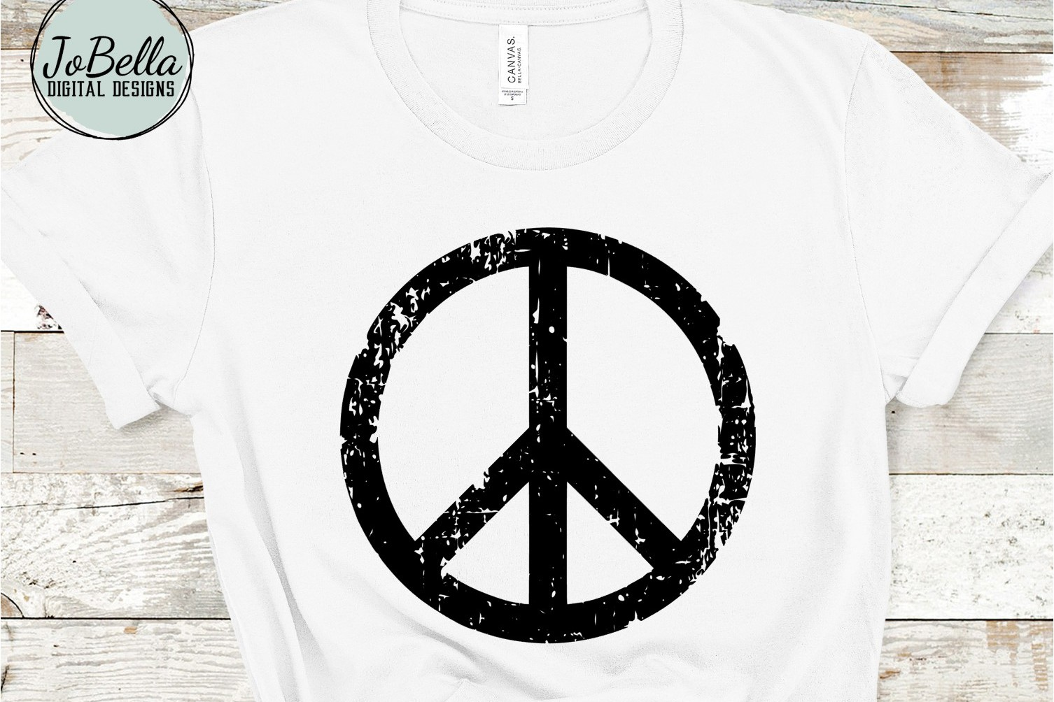 Distressed Peace Sign SVG, Sublimation PNG and Printable example image 1