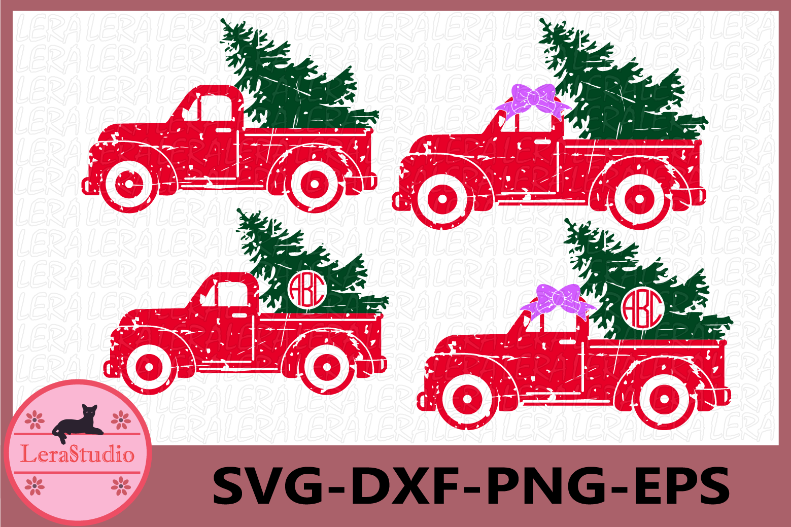 Red truck and Christmas Tree SVG, Grunge Svg, Truck Svg example image 1