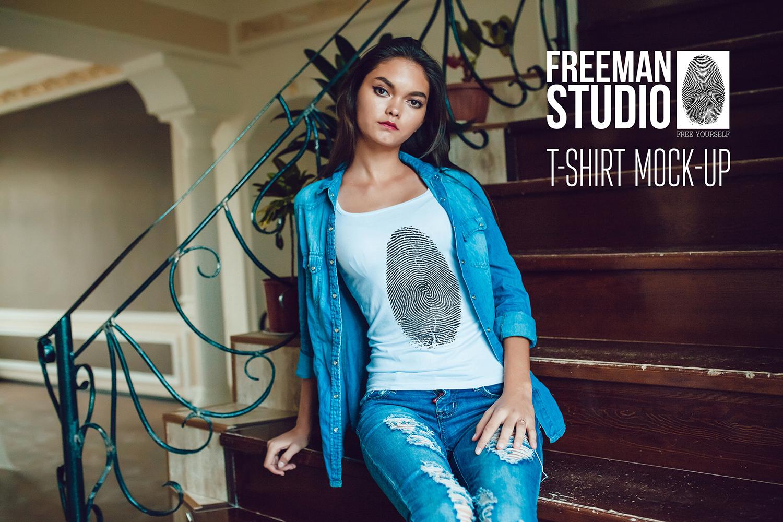 Girls T-Shirt Mock-Up example image 1