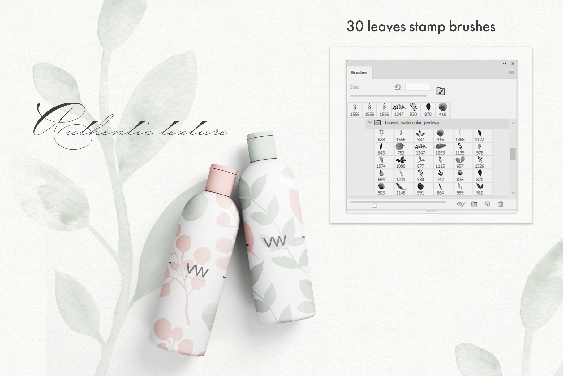 Watercolor Leaves Stamp Brushes example image 3