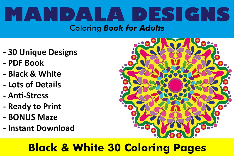 Mandala Designs Coloring Book - 30 Unique Mandalas example image 1