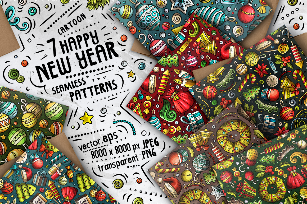 Happy New Year Doodle Big Pack example image 2
