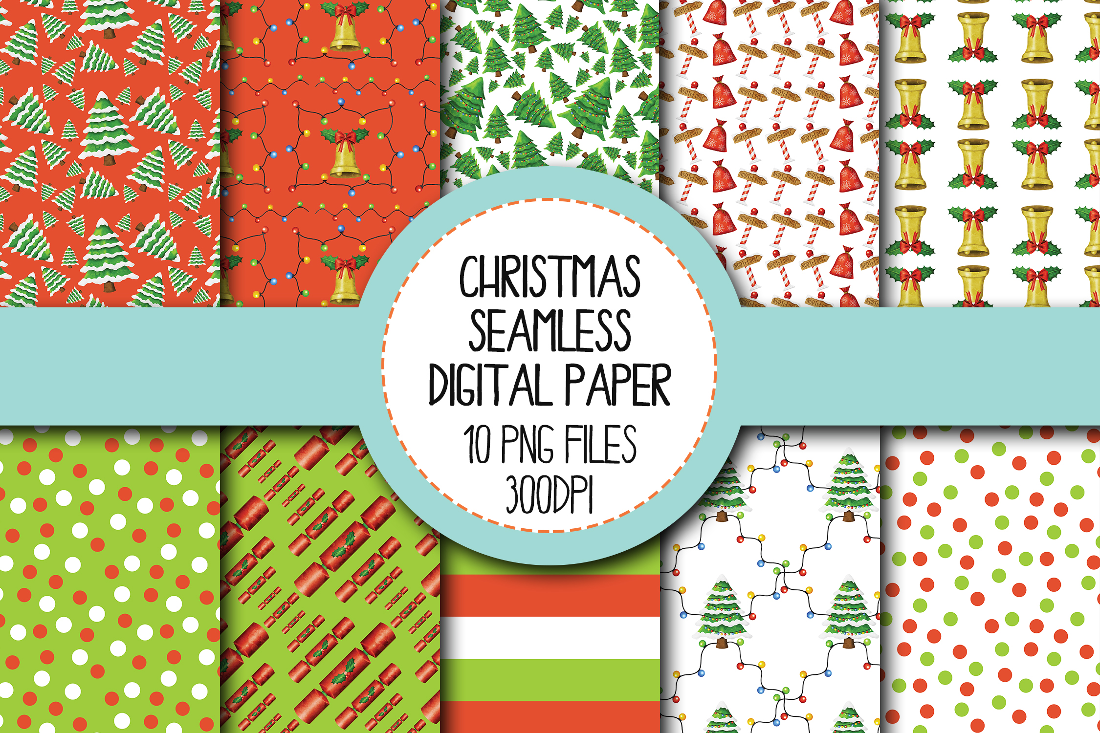 Watercolor Christmas Seamless Digital Papers Set 2 example image 1