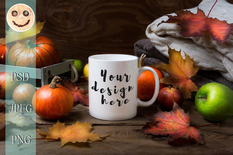 White coffee mug mockup with fall leaves, pumpkins example image 1