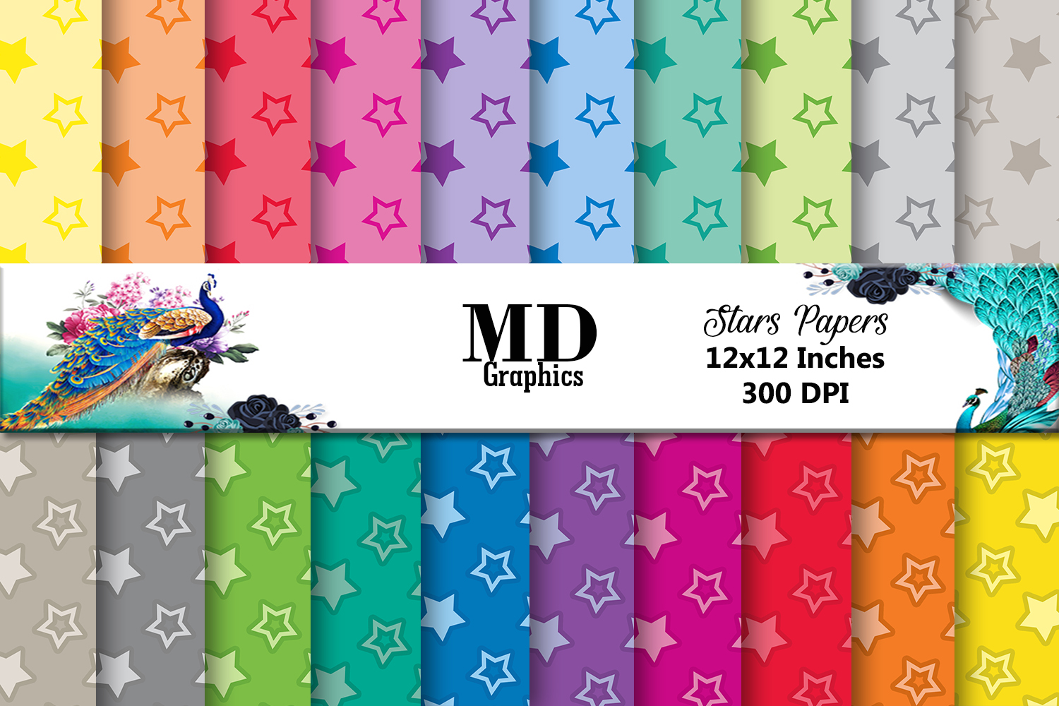 Stars Scrapbook Papers,Digital Papers Stars,Color Stars,Star example image 1