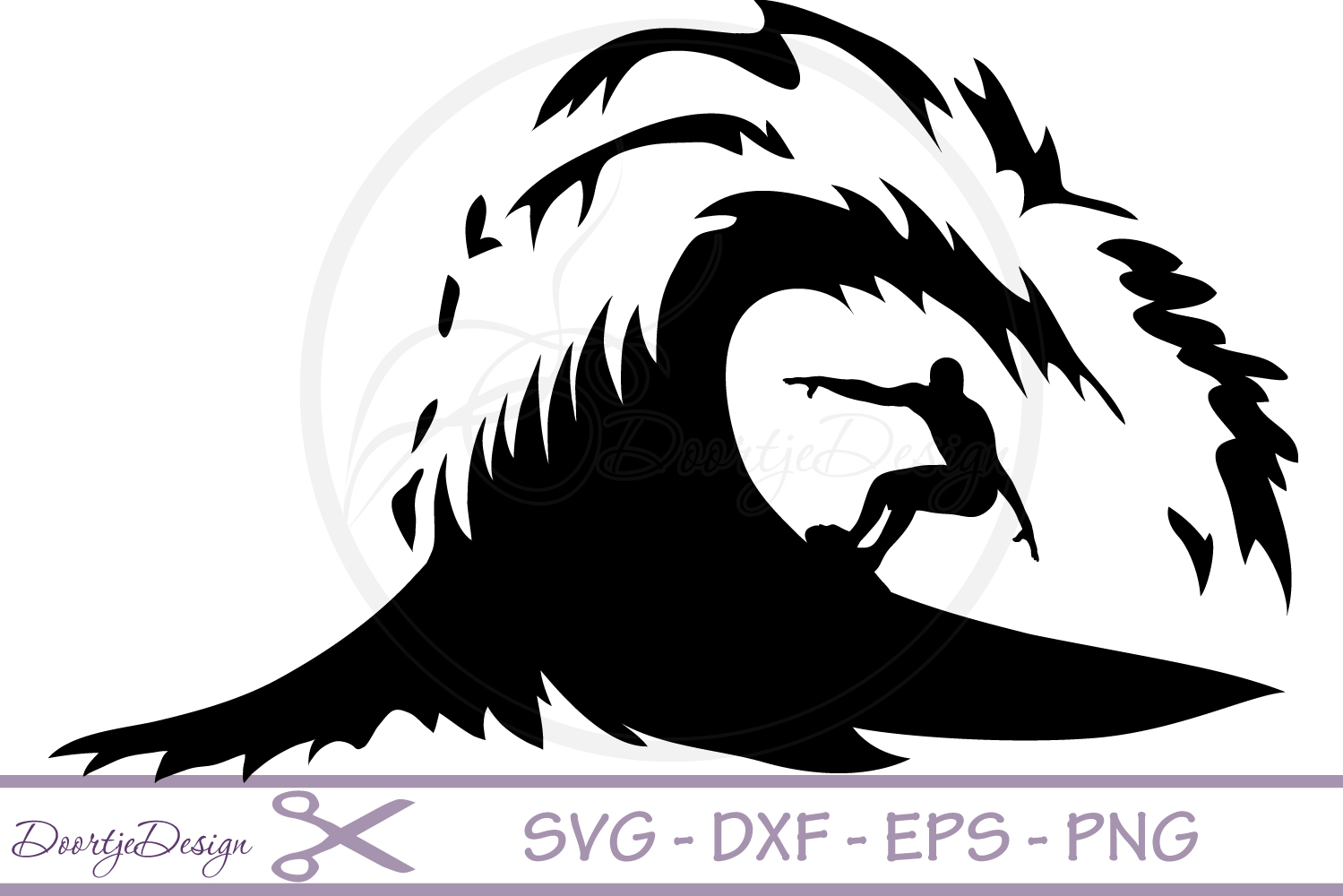 Sea Surf Wave SVG cutting files example image 1