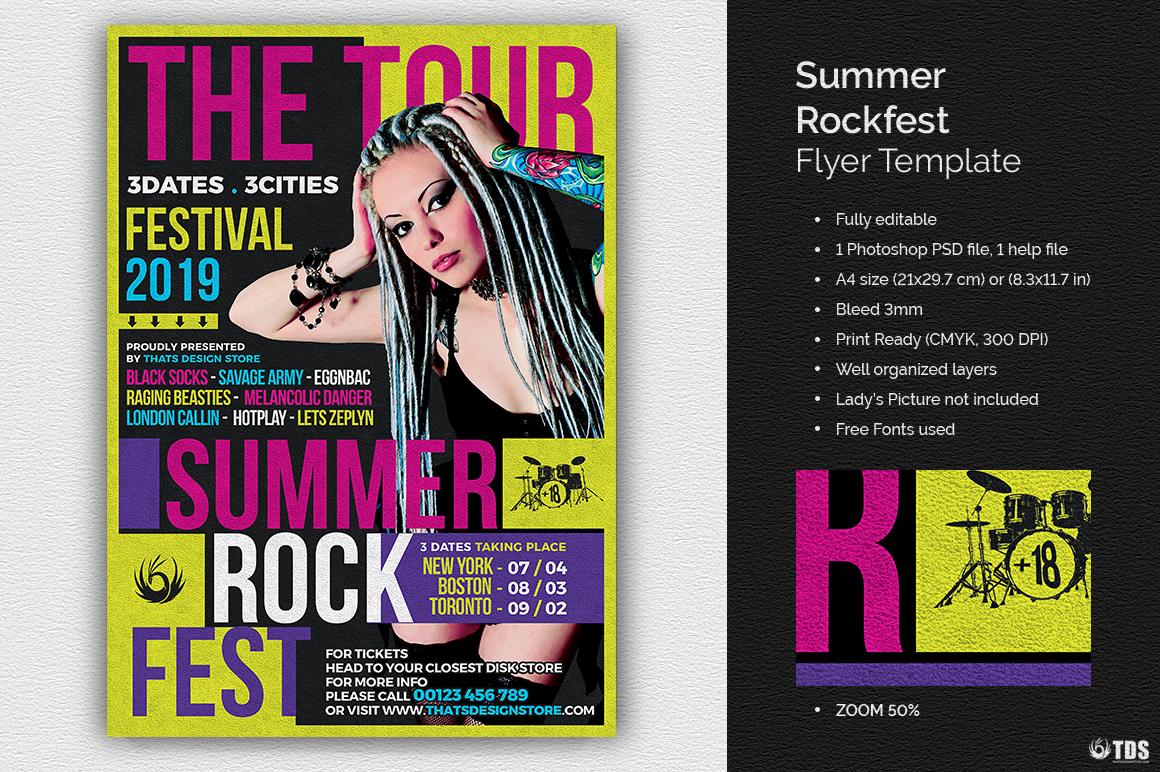 Summer Rockfest Flyer Template example image 1