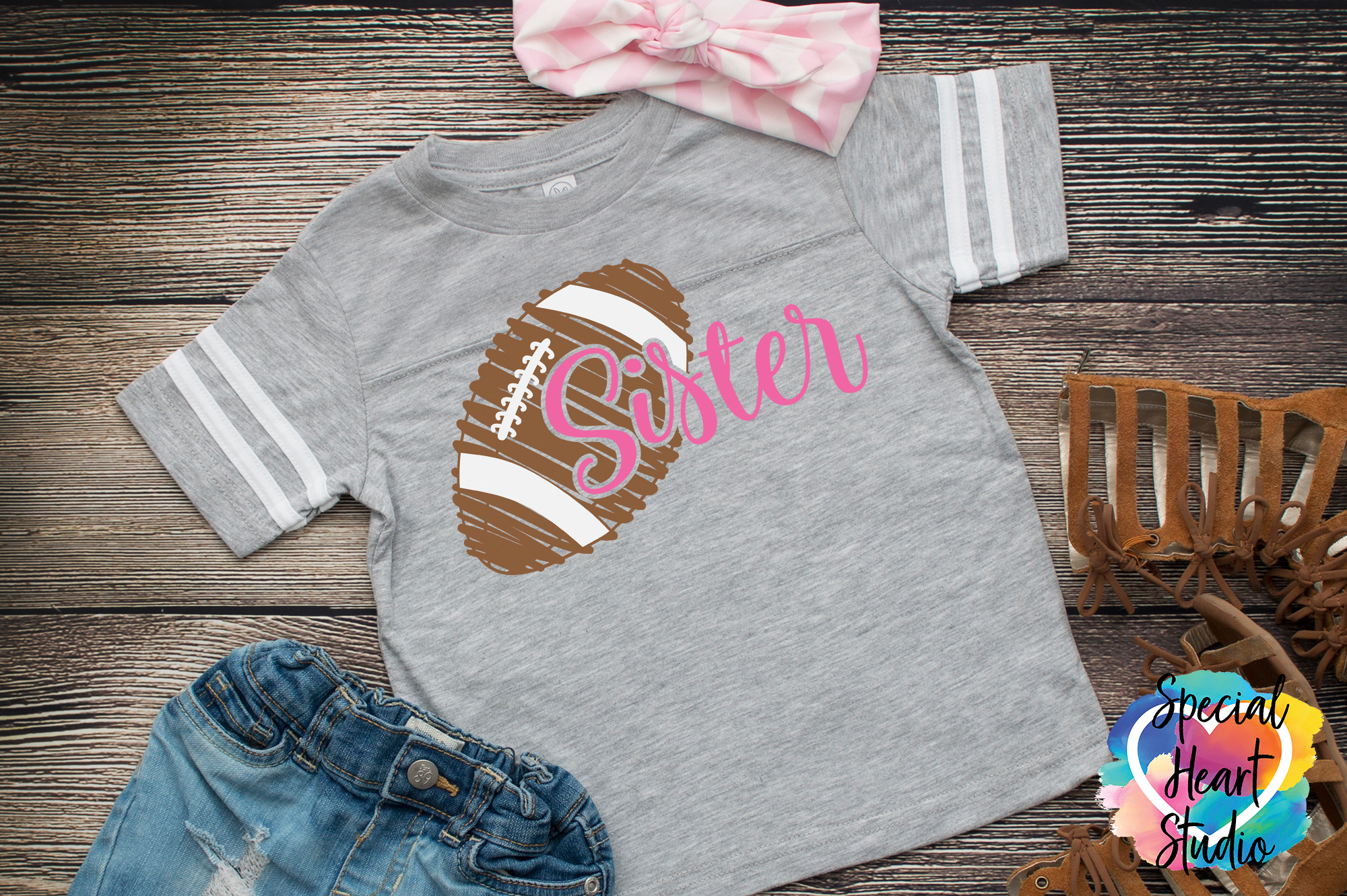 Football Sister - A Football SVG Cut File to cheer brother example image 1