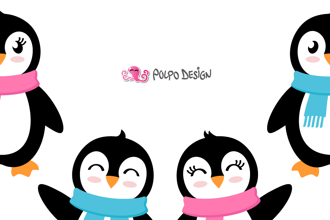 Girl and Boy Penguins SVG example image 2