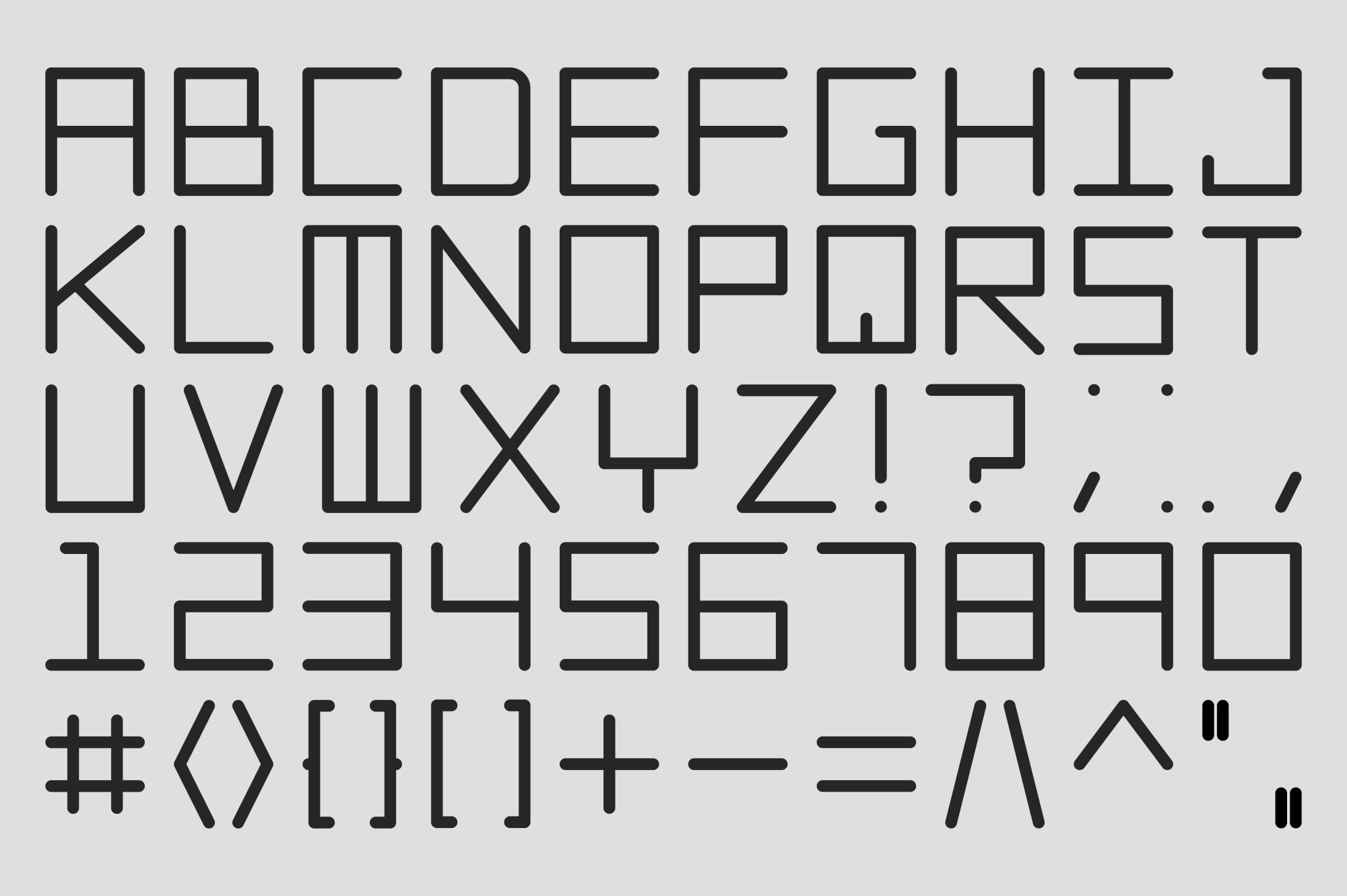 Vector digital alphabet set. example image 1