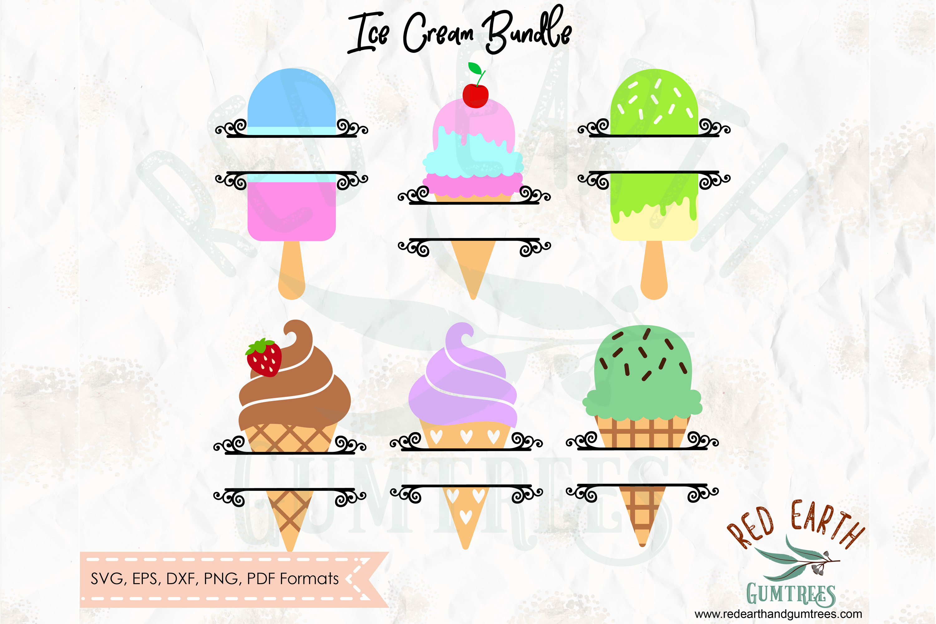 Ice cream split monogram frame, ice cream circle frame SVG example image 3