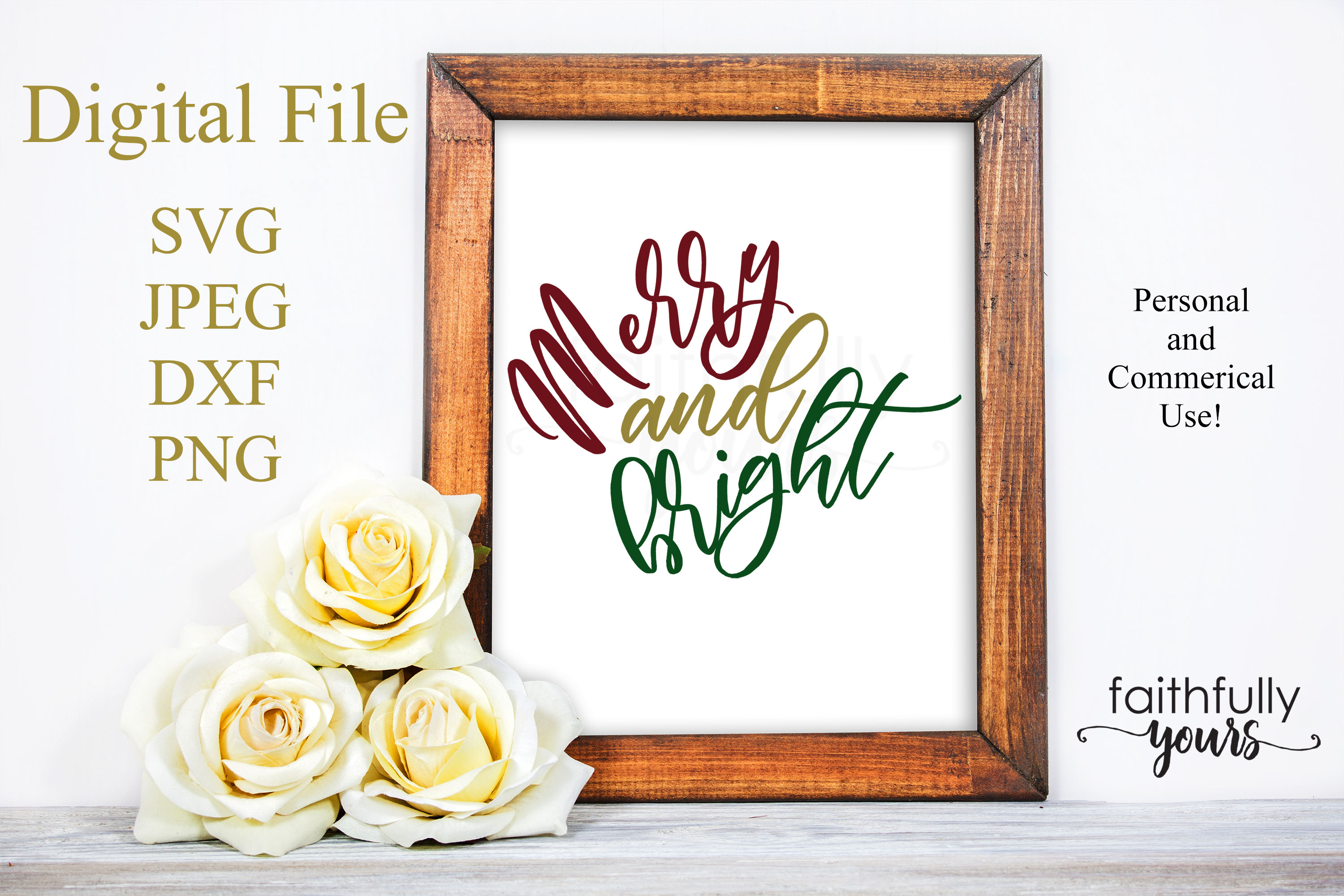 Merry and bright svg digital cut file Holiday Christmas example image 1