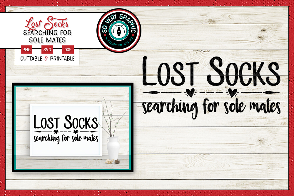 Lost Socks Searching for Sole Mates | SVG | PNG | Cut Print example image 1