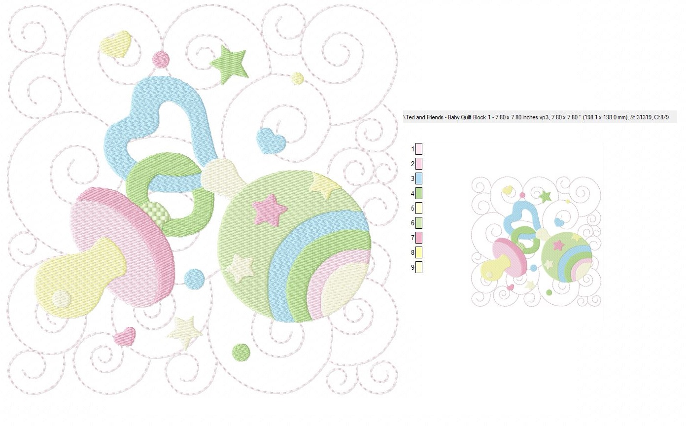 Baby Quilt Block 1 - Machine Embroidery Design in 3 sizes example image 2