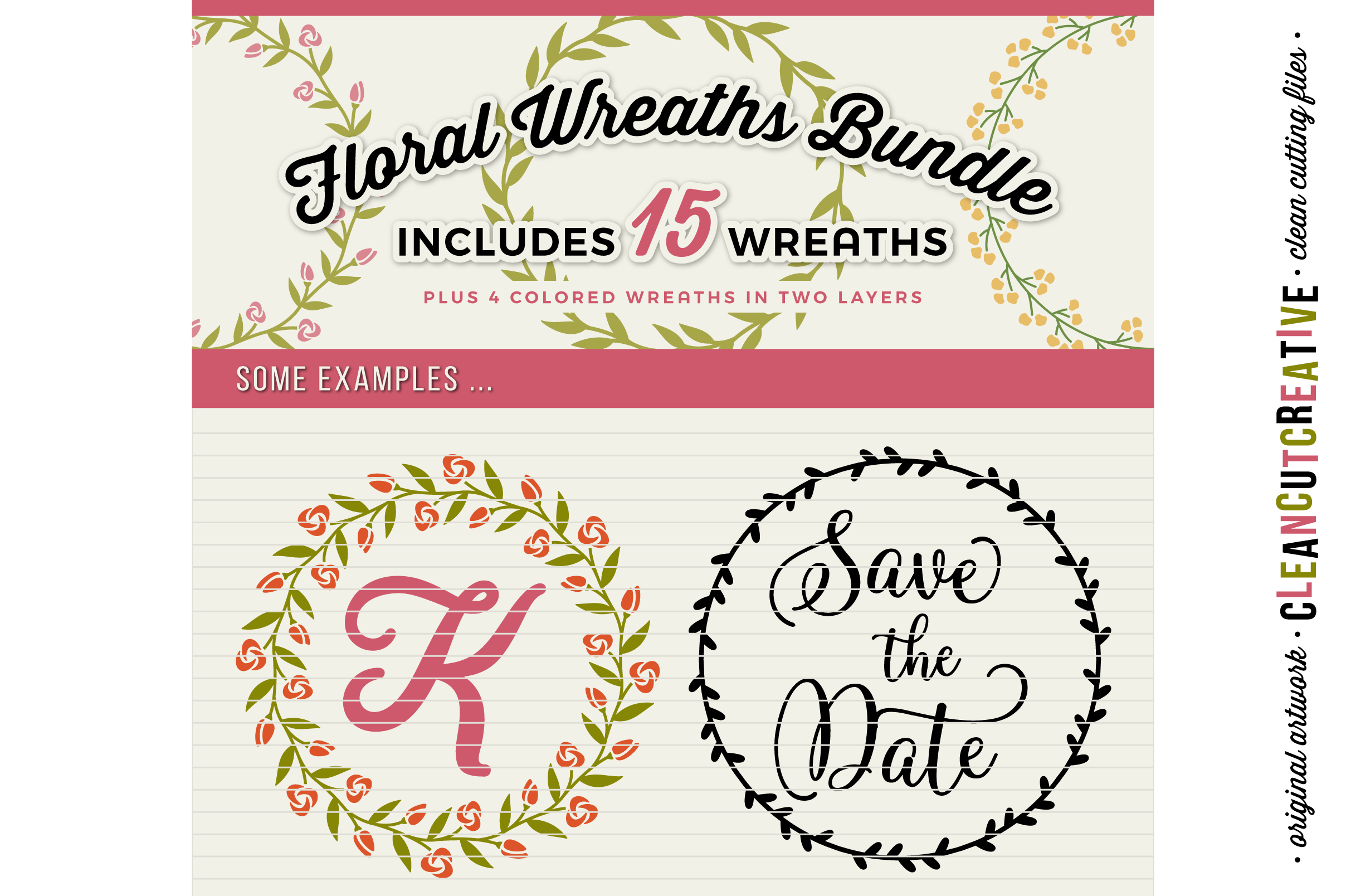 15 svg FLORAL WREATHS floral leaf circleframes - SVG DXF EPS PNG - for Cricut and Silhouette Cameo - clean cutting digital files example image 5